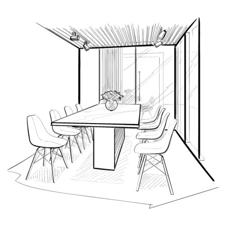 Illustration pour Boarding room. Interior sketch. - image libre de droit