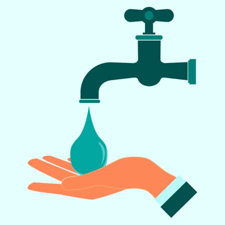Wash hands icon. Clean hand drop.