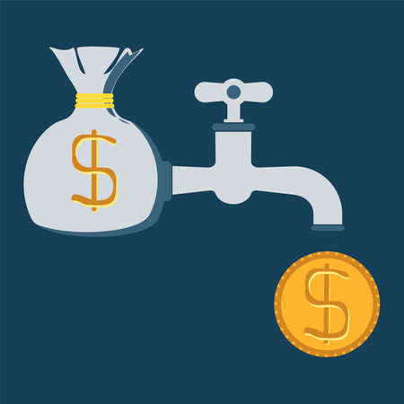 Financial, credit, business concept. Coins dripping out of water tap.