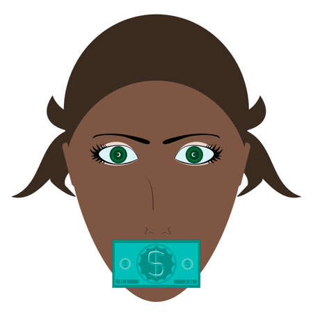 Young woman silenced by money concept with green bill covering his mouth