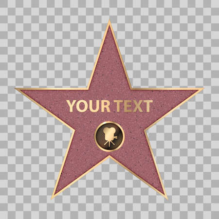 Hollywood star on celebrity fame of walk boukevard. Vector symbol star for iconic movie actor or famous actress template. Gold hollywood star with camera sign on transparent background