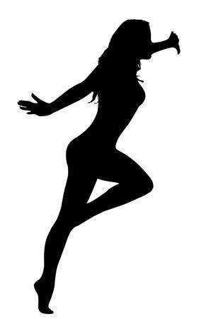 Dancing woman silhouette isolated over white