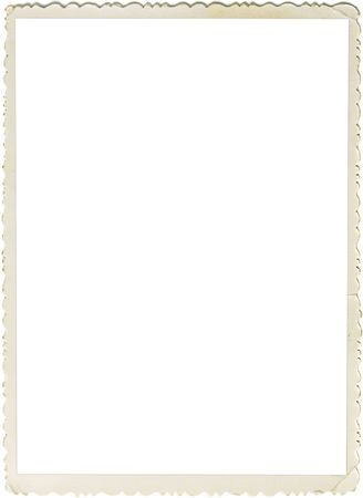 Retro photo frame with scalloped borders and copy space inside isolated on white background