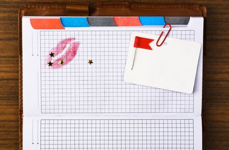 Tabbed notebook with colored tabs and red lips print. Useful for web site template