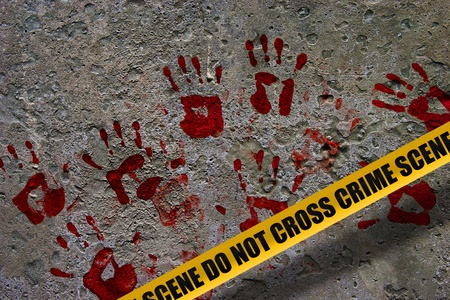Bloody red palm prints over stone background at crime scene illustrating crime scene concept