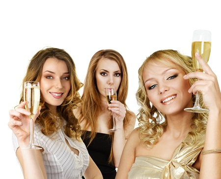 Group of young girls with champagne holding in hand isolated over white background
