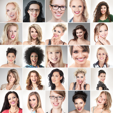Photo for Digital composite of faces different happy smiling young people - Royalty Free Image