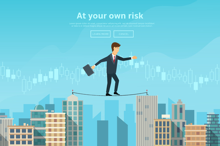 Illustration pour Concept of web banner with person walking on the rope. Modern flat design of urban landscape with city buildings. - image libre de droit