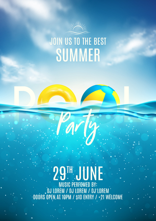Ilustración de Summer pool party poster template. Vector illustration with deep underwater ocean scene. Background with realistic clouds and marine horizon. Invitation to nightclub. - Imagen libre de derechos