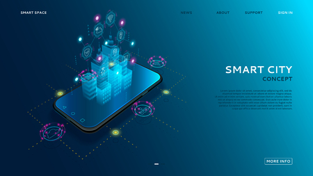 Illustration pour Concept of smart city with IoT. Digital hologram of smart city on the screen of smartphone with Internet of things. Vector illustration with wireless connections of information technology icons. - image libre de droit