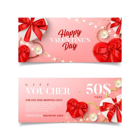 Illustration pour Gift voucher for Valentine's Day sale. Vector illustration with red and white gift boxes, light garland, candles and confetti on pink background. Discount coupon usable for invitation or ticket. - image libre de droit
