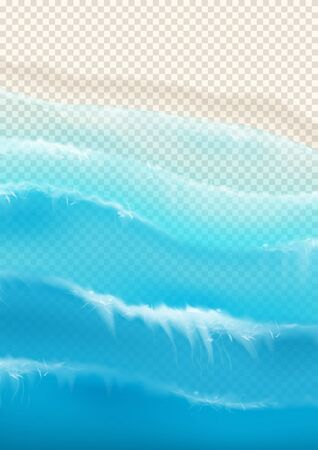 Illustration pour Top view on foamy ocean waves. Realistic aerial view on foamy sea water isolated on chekered background. Vector illustration with cascade of sea waves. - image libre de droit