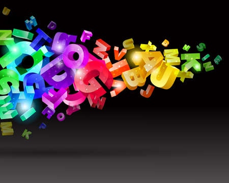 Abstract flow with rainbow letters vector illustration