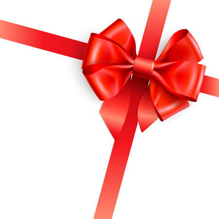 red bow isolated on white. Vector illustration