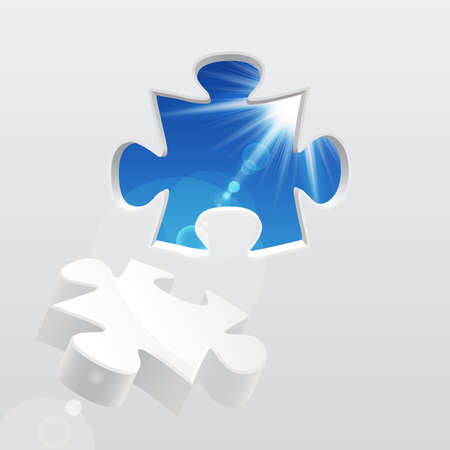 3d puzzle with sky and sunlight. Vector illustration.