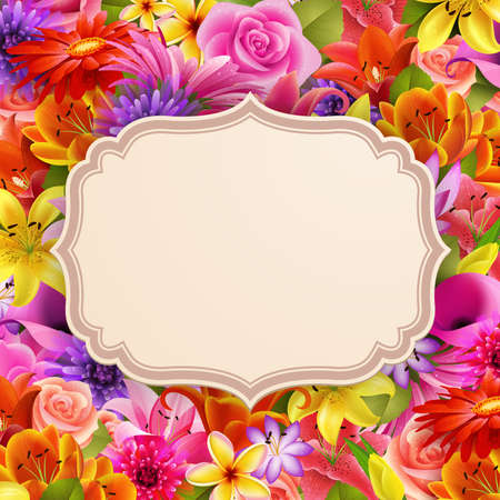 Card with place for text on flower background  illustration