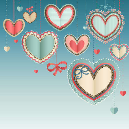 Illustration for Valentine s Day vintage card with lacy paper hearts in the blue sky  - Royalty Free Image