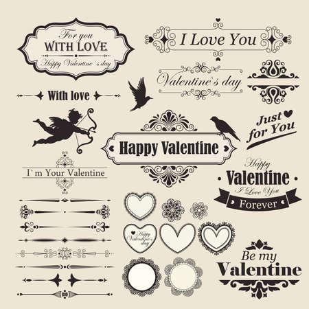 Valentine s Day vintage design elements and letterning