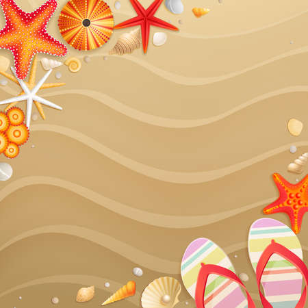 Holiday greeting card with shells, starfishes and place for text