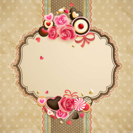 Valentine s Day vintage lace card with sweets and place for text