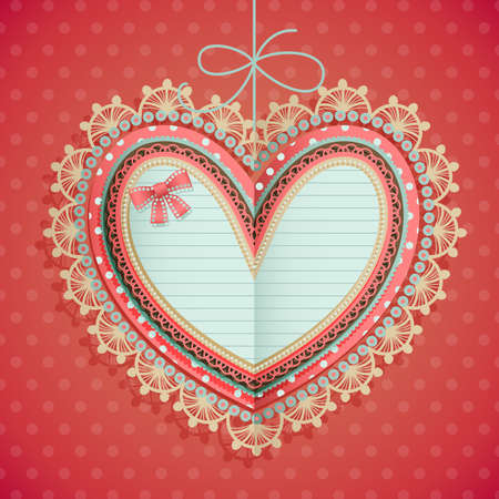 Valentine s Day vintage card with heart and place for text