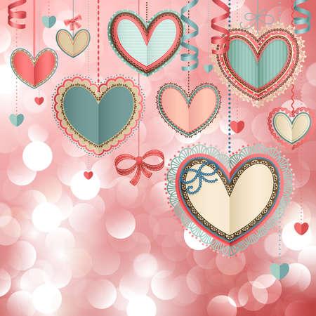 Ilustración de Valentine s Day vintage card with lacy paper hearts and place for text  - Imagen libre de derechos