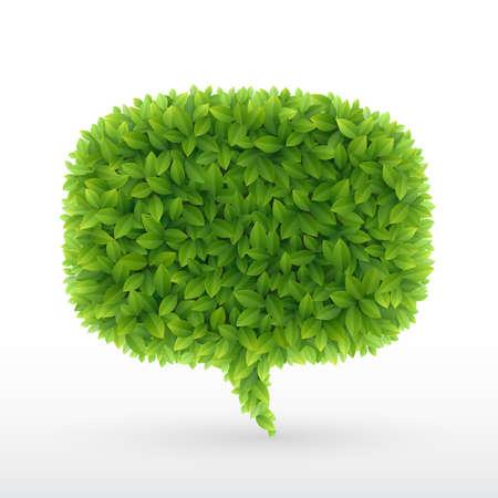 Summer Bubble for speech, Green leaves. illustration.