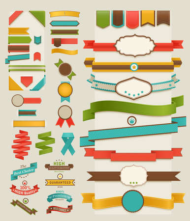 Set of retro ribbons and labels. illustration.