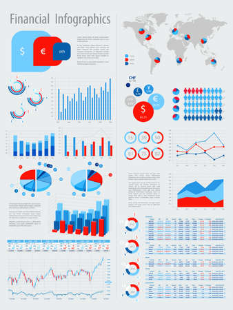 Financial Infographic set with charts and other elements. Vector illustration.