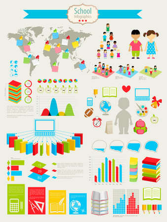 Back to school Infographic set with charts and other elements. illustration.