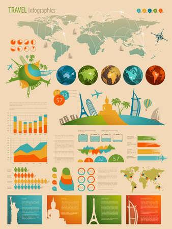 Illustration pour Travel Infographic set with charts and other elements. Vector illustration. - image libre de droit
