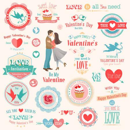 Valentine s Day set - labels, emblems and other elements  illustration