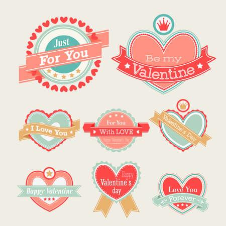 Ilustración de Valentine s Day set - labels and emblems  illustration  - Imagen libre de derechos
