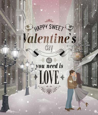 Ilustración de Valentine s Day greeting card - snowy romantic street  - Imagen libre de derechos