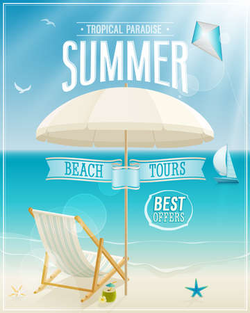 Illustration pour Seaside view poster. Vector background. - image libre de droit