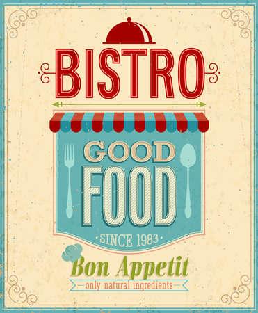 Vintage Bistro Poster. Vector illustration.
