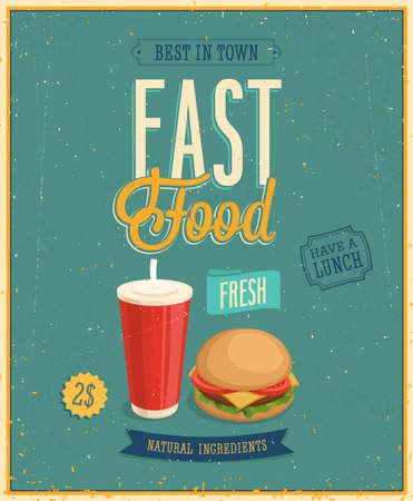Vintage Fast Food Poster.