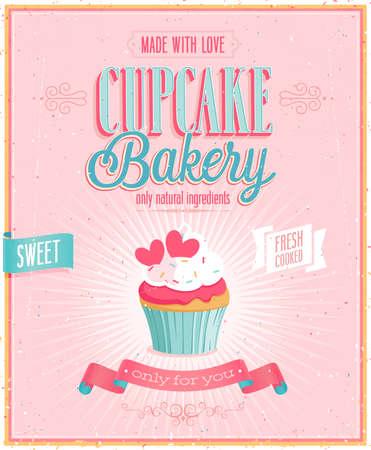Vintage Cupcake Poster. Vector illustration.