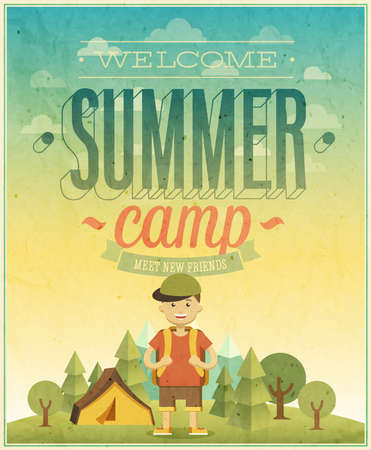 Summer camp poster illustration.