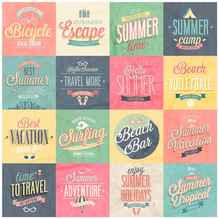 Summer set - labels and emblems illustration.