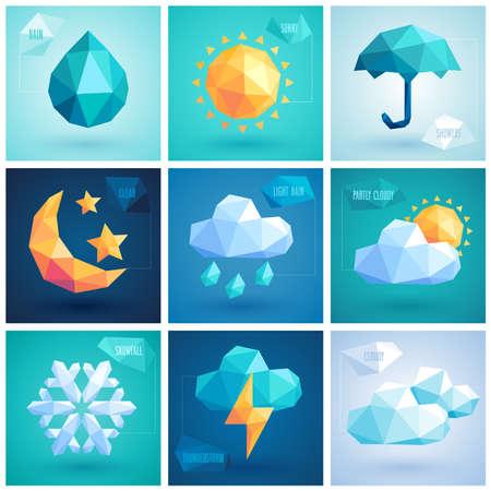 Weather set - geometric icons.