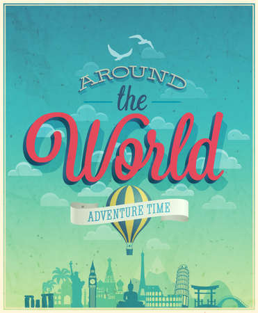 Illustration for Around the world poster.  - Royalty Free Image