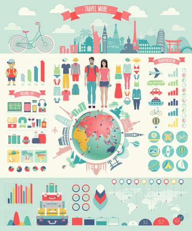 Illustration pour Travel Infographic set with charts and other elements.  - image libre de droit