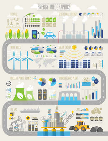 Ilustración de Energy and ecology Infographic set with charts and other elements. - Imagen libre de derechos