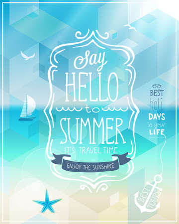 Hello summer poster with tropical background.