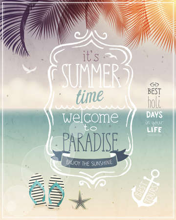 Illustration pour Summer time tropical poster - vintage style. - image libre de droit
