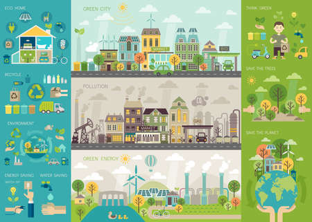Ilustración de Green city Infographic set with charts and other elements. Vector illustration. - Imagen libre de derechos