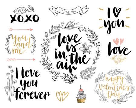 Illustration pour Valentine`s Day Lettering Design Set - hand drawn Vector illustration. - image libre de droit