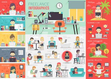 Ilustración de Freelance Infographic set with charts and other elements. - Imagen libre de derechos