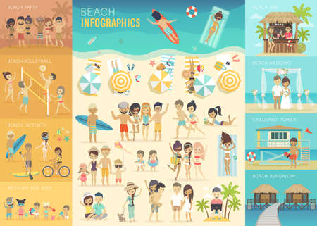 Ilustración de Beach Infographic set with charts and other elements. - Imagen libre de derechos